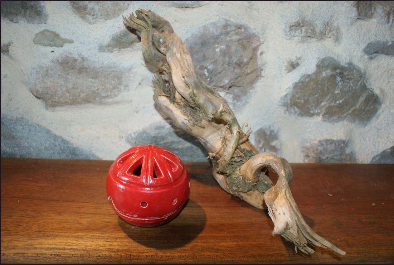 Brule encens boule grès rouge