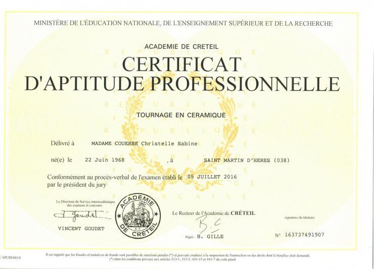 Diplome cap tournage lagrange chrystelle